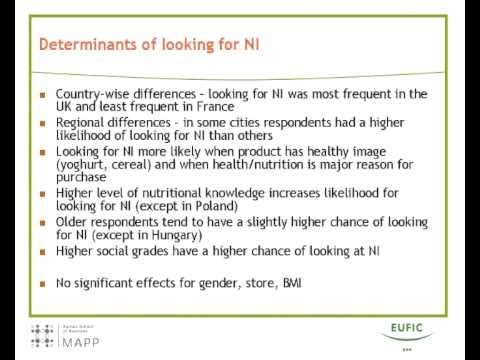European consumers spill the beans on food labels. Results from EUFIC's European study (2008)
