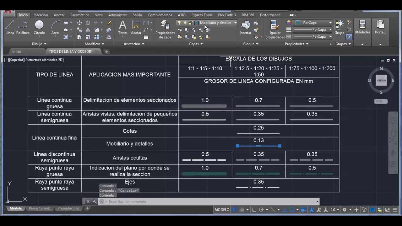 Configuracion de grosor tipo de linea y color para dibujo for Arquitectura en linea