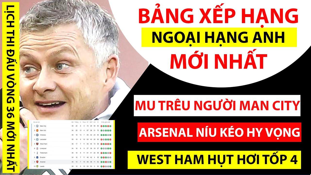 Bảng xếp hạng NGOẠI HẠNG ANH mới nhất | MU TRÊU NGƯƠI Man City, Arsenal đua vé Cúp C2 | Lịch thi đấu
