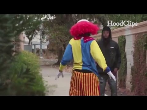 Man in clown suit pistol whipped
