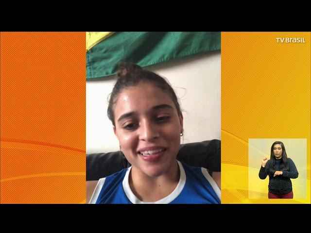 Camilla Gomes e Alice Hellen conquistaram bronze  ginástica trampolim