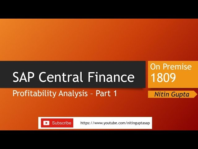 SAP Central Finance Profitability Analysis Part 1