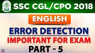 Error Detection | Part 5 | SSC CGL 2018 | CPO 2018  | English | Live at 1 PM
