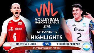 Poland vs Argentina | VNL 2021 | Highlights | Bartosz Kurek vs Federico Pereyra