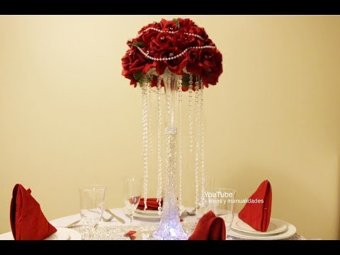 Centro de Mesa Elegante para bodas, 15 años muy facil de hacer