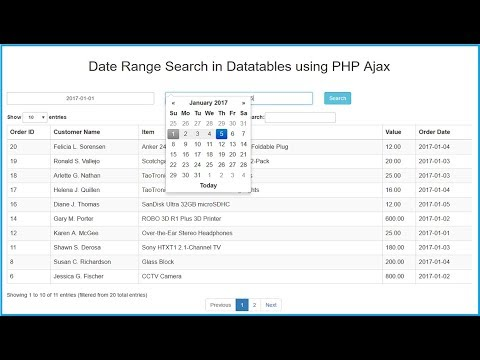 Date Range Search in Datatables using PHP Ajax | Webslesson