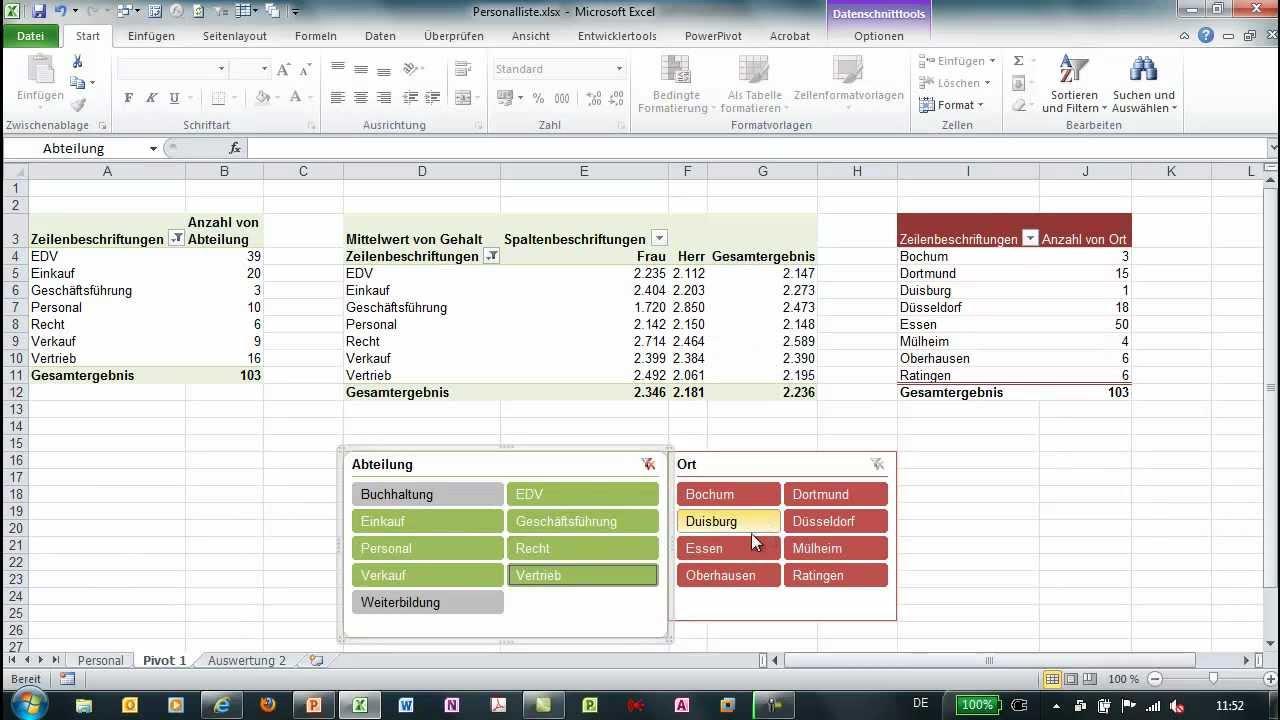 Excel 2010 - Mehrere Pivot-Tabellen über einen Datenschnitt filtern ...