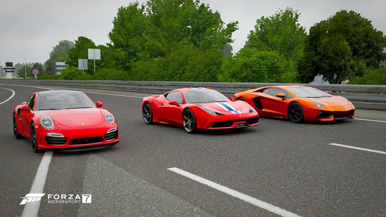 Forza 7 Drag Race Porsche 911 Turbo S Vs Lamborghini Aventador Lp700 4 Vs Ferrari 458 Speciale Youtube