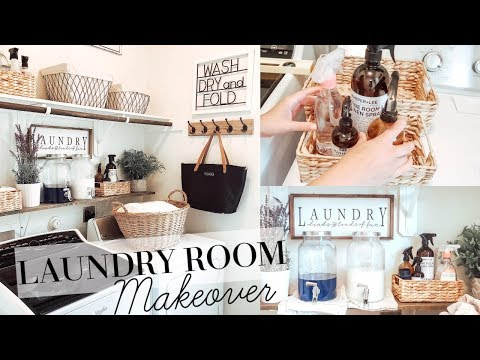LAUNDRY ROOM MAKEOVER   FARMHOUSE STYLE   HUGE TRANSFORMATION