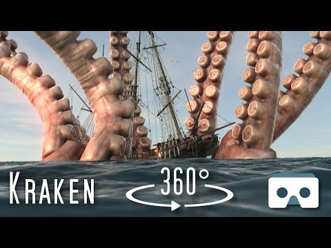 360 Kraken Eats A Ship: Virtual Reality Sea Monsters Scary 360 Video For VR Box, Oculus Go, Gear VR
