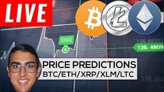 Price Predictions: Bitcoin ($BTC), Ethereum ($ETH), Ripple ($XRP), Stellar ($XLM), Litecoin ($LTC)!