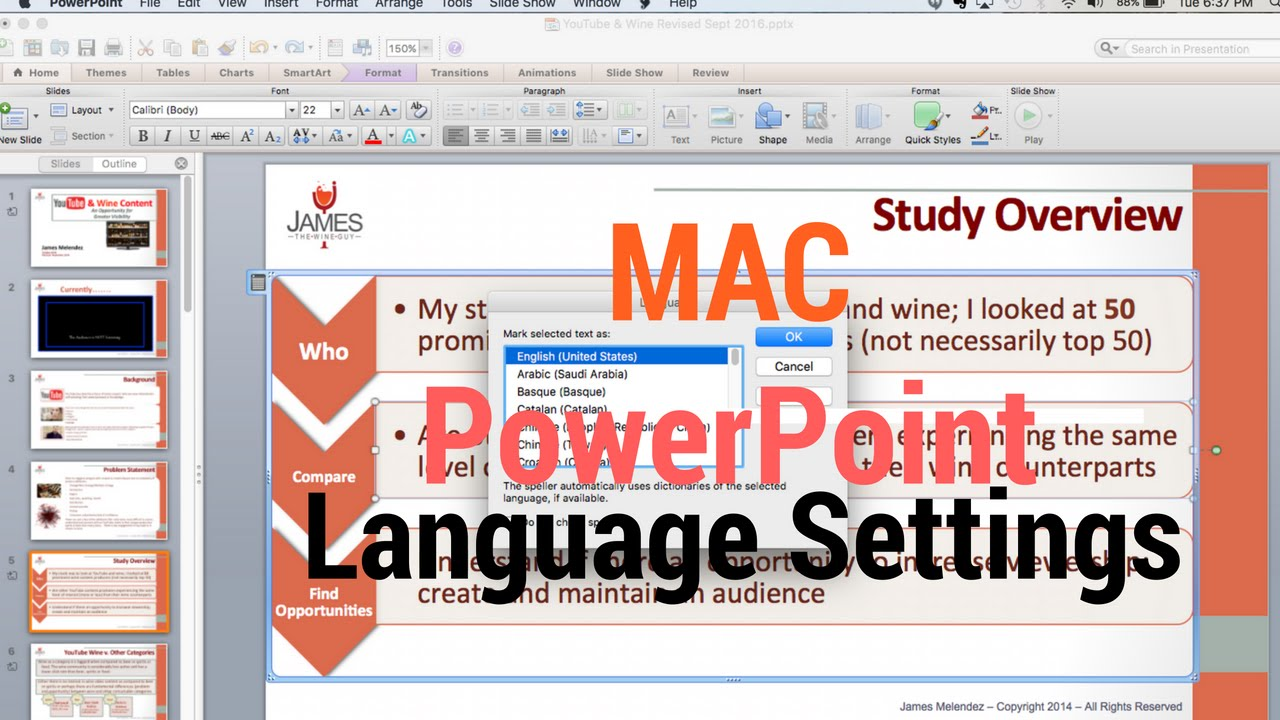 PowerPoint and Language Settings Mac - James Melendez