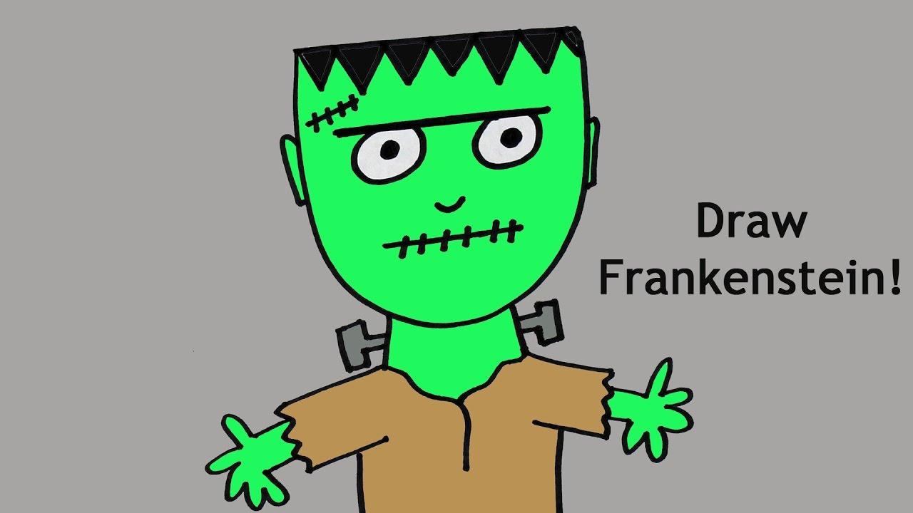 How to Draw a Cute Cartoon Frankenstein Monster for ...