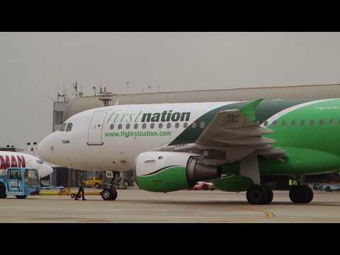 FIRST NATION AIRBUS A319 [PUSHBACK & TAXI] LAGOS AIRPORT