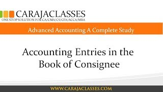 Accounting Entries in the Book of Consignee
