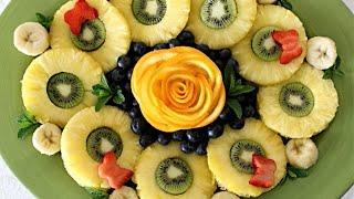 Как сделать украшение блюд из овощей и фруктов. Роза из апельсина. (Rose from Orange)