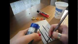 How to DIY :  make card with buttons, Make button flowers