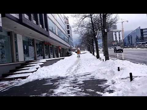 Bulgaria Boulevard, Sofia. 18.01.2017 Snow in Sofia, Bulgaria.