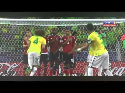 David Luiz Free kick Colombia