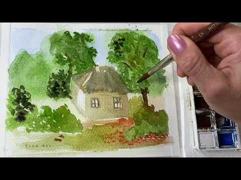 Step by Step Watercolor Painting For Beginners / Simple Watercolor Landscape Painting Tutorial