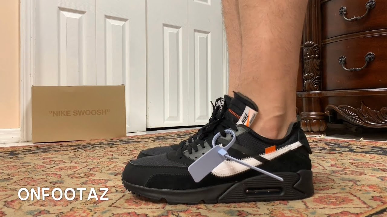 nike air max 90 off white black on feet