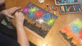 How to Draw a Fireworks Show in Chalk Pastels