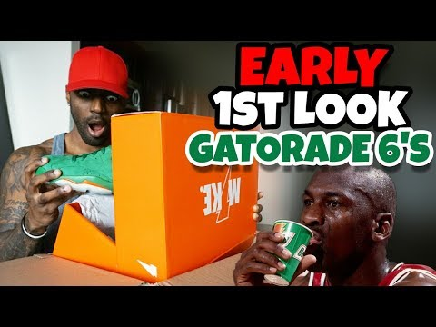 reputable site 63aa1 fcfb1 EARLY HEAT JORDAN 6 GREEN GATORADE UNBOXING 1ST LOOK