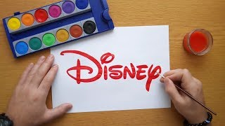 How to draw a red Disney logo