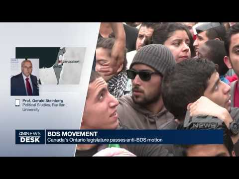 Prof. Gerald Steinberg, discussing BDS and Canada, I24 News ENGLISH