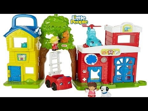 Fisher Price Little People Animal Rescue Fire Station, Pet Clinic Sent by Mattel, Fire Truck Toys