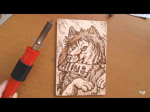 Fox burned with pyrography technique