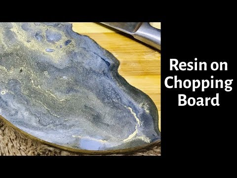 Resin on Chopping Board | Resin Art | Black, White, Gold and Silver
