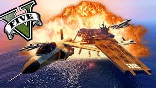 GTA 5 Online - EL ASALTO AL PORTAAVIONES GIGANTE!! LOL - y un final muy epico xD - NexxuzHD