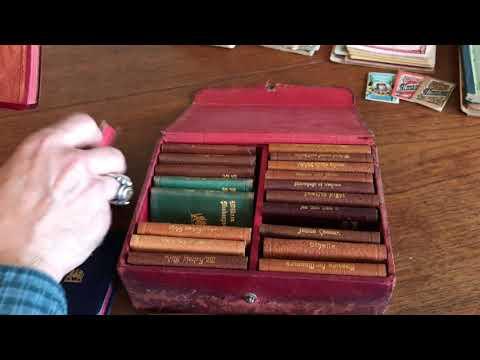 Shakespeare 24 vol set leather books c.1900 miniature gilt in case