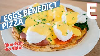 Eggs Benedict Breakfast Pizza on a Giant English Muffin - You Can Do This!