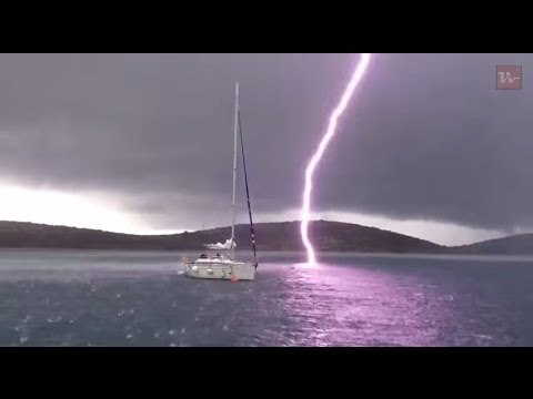 Viral Video Uk Lightning Strike Nearly Hits Boat Youtube