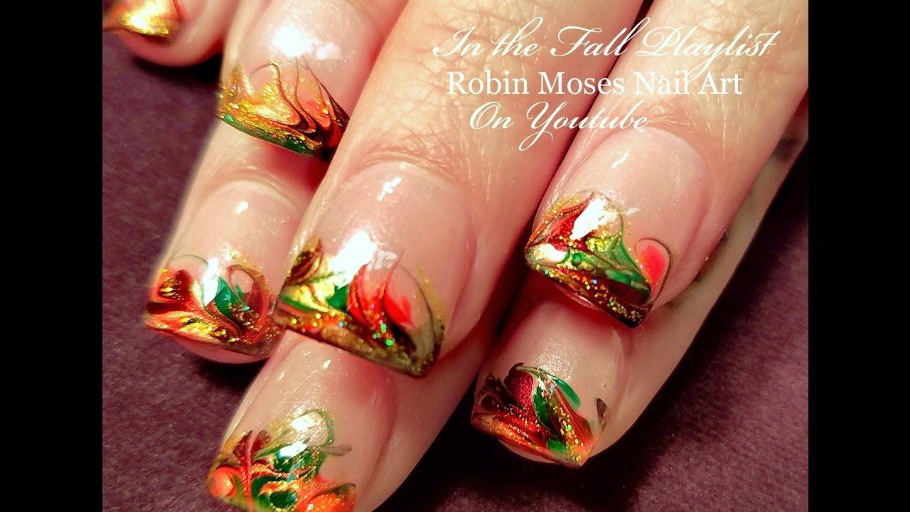 Thanksgiving Nails Fall No Water Drag Marble Nail Art Design