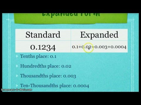 fifth grade - decimal expanded form and word form - YouTube