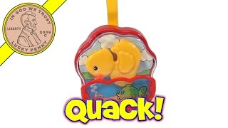 Vintage Fisher-price Quacking Yellow Duck & Fish Music Box Baby Crib Toy # 5703 From 1995