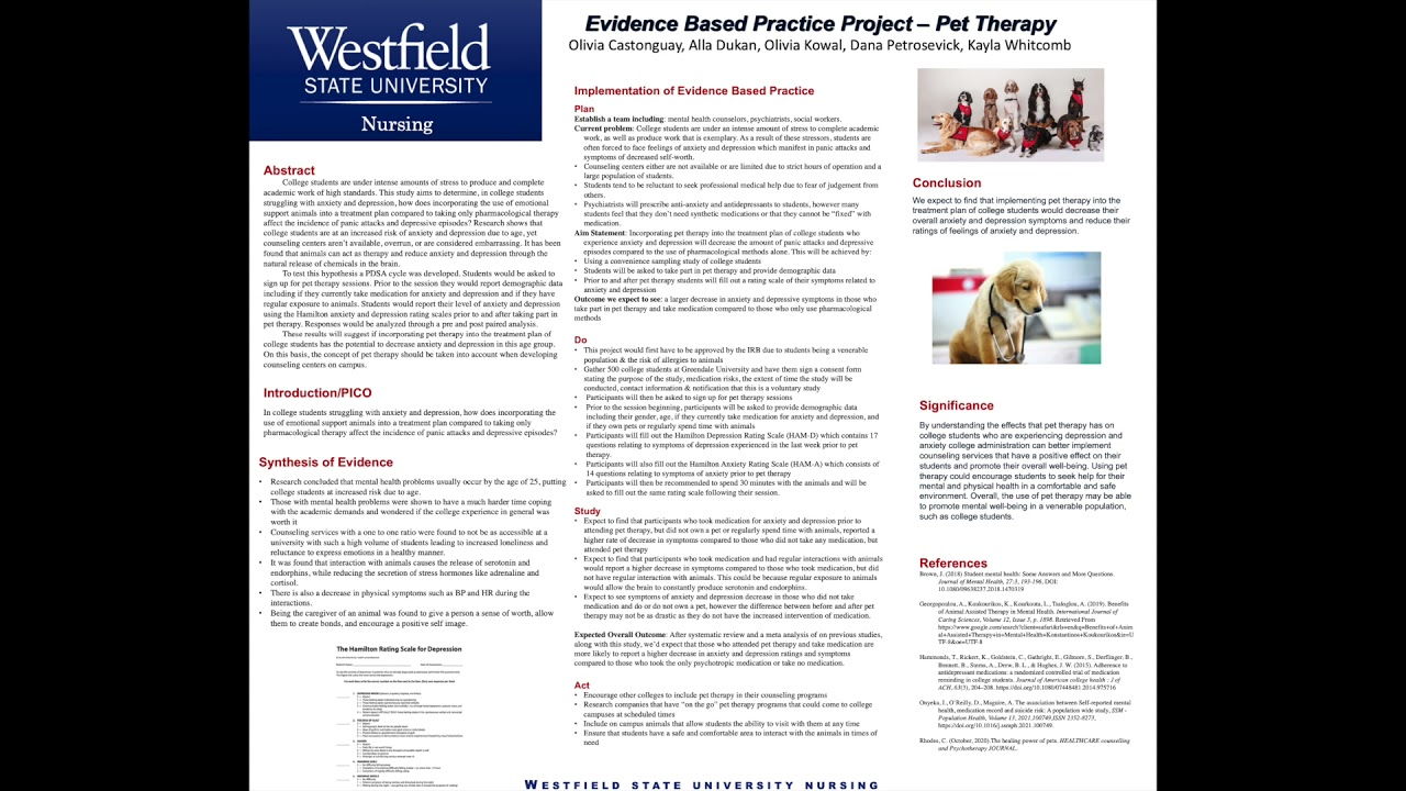 Evidence Based Practice Project - Pet Therapy