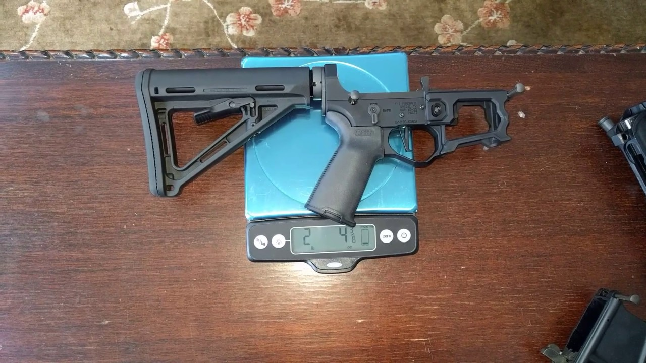 F1 firearms skeletonized AR-15 lower and upper weight comparison