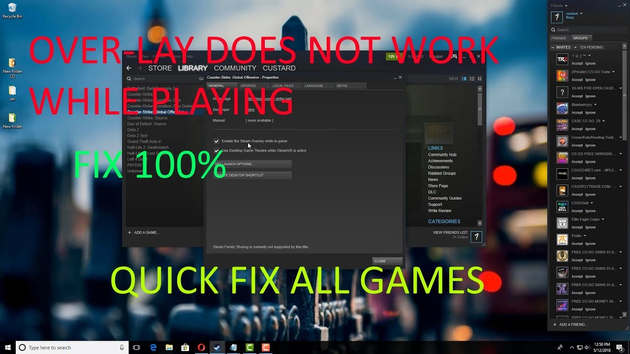 Steam In-Game Overlay Not Working [FIX] (2018-2019)