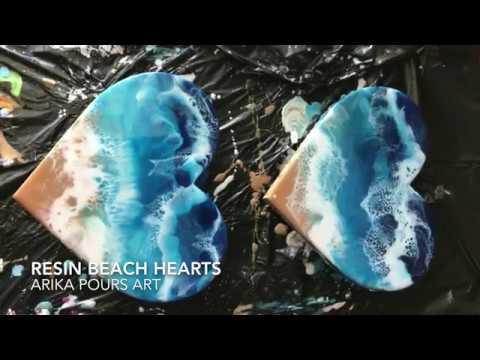 Layer 1 Resin Beach Hearts