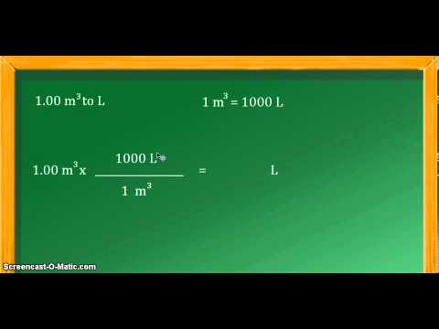 Unit conversion: cubic meters (m^3) to liters (L)