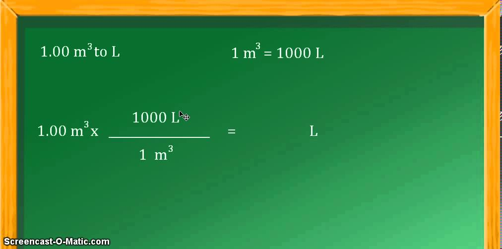Unit conversion: cubic meters (m^3) to liters (L) - YouTube