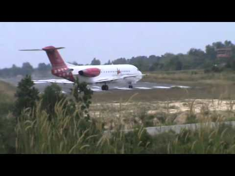 Transnusa Air Service Fokker F70 Take Off At Pinang Kampai Airport Of Dumai