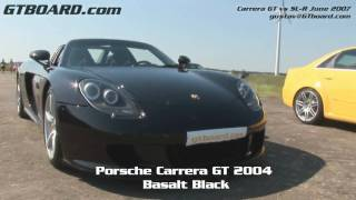 HD: McLaren MB SL-R vs Carrera GT 50-300 km/h SLR (30-190+ mph)  real world test