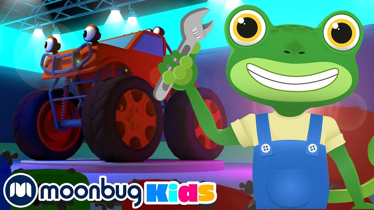 The Monster Trucks Song | Gecko's Garage: Nursery Rhymes & Baby Songs | Kids Cartoons | Moonbug Kids