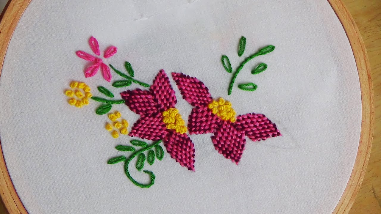 Hand Embroidery Checkered Flower Stitch Youtube