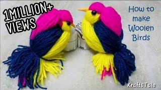 Woolen Birds Making || Yarn bird craft || How to make Woolen birds || DIY CraftsLane